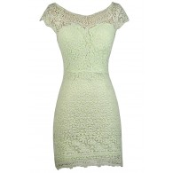 Lime Green Lace Sheath Dress, Green Crochet Lace Sheath Dress, Cute Lace Dress, Lace Summer Dress
