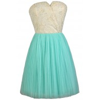 Aqua and Cream Rosette Strapless Dress, Cute Summer Dress, Aqua Bridesmaid Dress, Tulle and Rosette Bridesmaid Dress, Cute Party Dress