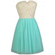 Aqua and Cream Rosette Strapless Dress, Cute Summer Dress, Aqua Bridesmaid Dress, Tulle and Rosette Bridesmaid Dress, Cute Party Dress