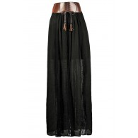 Black Maxi Skirt, Fall Maxi Skirt, Leatherette Maxi Skirt, Prairie Maxi Skirt