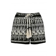 Cute Shorts, Black and Ivory Printed Shorts, Black and Ivory Pattern Shorts