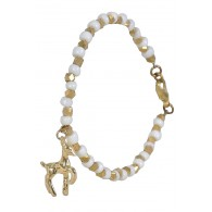 Gold Deer Charm Bracelet, Cute Jewelry, Gold and Off White Bracelet