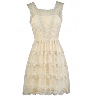 Cream Embroidered Dress, Cute Cream Dress, Cream A-Line Dress, Cute Summer Dress