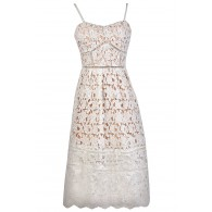 White Lace Midi Dress, White and Beige Lace A-Line Dress, White Lace Rehearsal Dinner Dress, White Lace Bridal Shower Dress