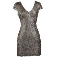 Bronze Mocha Sequin Party Dress, Bronze Mocha Sequin Cocktail Dress, Cute New Years Drses, Cute Holiday Dress, Sequin Party Dress