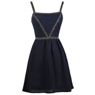 Navy Blue Beaded Embellished Cocktail Party Dress