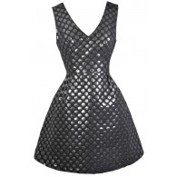 Black and Silver Dot A-Line Party Dress