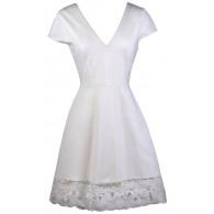 Cute Ivory Dress, Ivory Sundress, Ivory Summer Dress, Ivory Capsleeve A-Line Dress, Lace Trim Dress