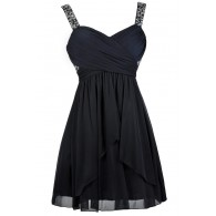 Navy Blue Embellished Beaded Cocktail Party Dress
