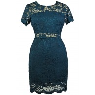 Teal Green Plus Size Lace Cocktail Dress