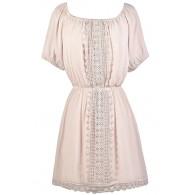 Blush Cream Crochet Lace Dress, Cute Peasant Dress, Blush Cream Sundress, Cute Summer Dress