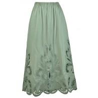 Sage Green Lasercut Midi Skirt, Sage Green Longer Length Skirt, Cute Sage Green Skirt