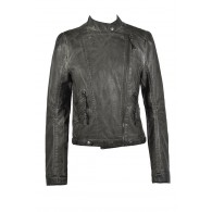 Grey Leatherette Jacket, Cute Fall Jacket, Grey Vegan Leather Jacket
