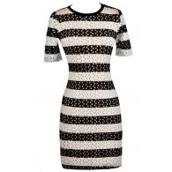 Online Boutique Dress, Black and White Pencil Dress, Lasercut Dress