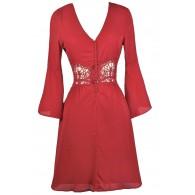 Cute Red Dress, Red Bell Sleeve Dress, Red Summer Dress, Cute Red Dress