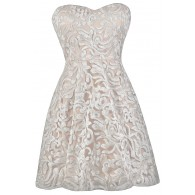 Ivory Sequin Party Dress, Cute Ivory Dress, Rehearsal Dinner Dress