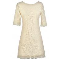 Beige Lace Sheath Dress, Rehearsal Dinner Dress, Bridal Shower Dress