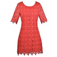Cute Coral Red Lace Dress, Coral Red Sheath Dress, Coral Red Bridesmaid Dress