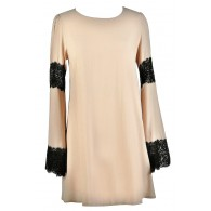 Beige and Black Bell Sleeve Dress, Cute Boho Dress, Black and Beige Lace Dress