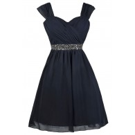 Navy Embellished Party Homecoming Bridesmaid Dress