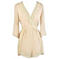 Cute Summer Romper, Beige Lace Romper, Online Boutique Romper