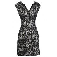 Black Lace Dress, Cute Online Boutique Dress, Black Pencil Dress