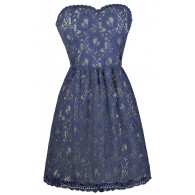 Blue Strapless Lace Dress, Cute Summer Dress, Online Boutique Dress