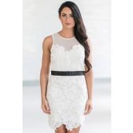 Ivory Keys Banded Lace Sheath Dress