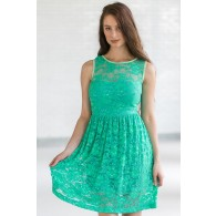 Sleeveless A-Line Lace Overlay Dress in Bright Green