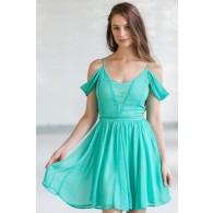Erica Lace Panel Off Shoulder Dress in Jade