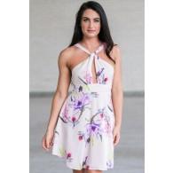 Pale Pink Floral Print Sundress, Cute Summer Dress, Printed Blush Pink Dress