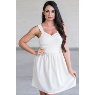 Cute Cream A-Line Party Dress, Beige Summer Dress, Online Boutique Sundress
