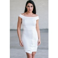 Ivory Off Shoulder Bodycon Dress, Cute Ivory Pencil Dress, Asymmetrical Hemline Dress