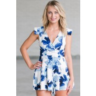 Cute Blue Floral Print Romper, Cute Summer Romper, Online Boutique Romper