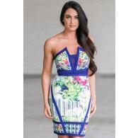 Cute Printed Dress, Blue Printed Bodycon Dress, Cute Summer Cocktail Dress