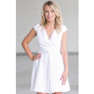 Cute White A-Line Eyelet Dress, Online Boutique Dress, Cute White Sundress, White Summer Dress