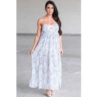 Blue and White Printed Maxi Dress, Cute Maxi Dress, Cute Summer Dress