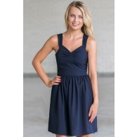 Cute Navy Dress, Cute Sundress Online, Navy A-Line Summer Dress