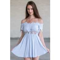 Cute Pale Blue Off Shoulder Romper, Online Boutique Baby Blue Romper, Cute Summer Romper
