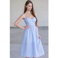 Pale Blue Midi Sundress, Cute Summer Dress, A-Line Sky Blue Dress