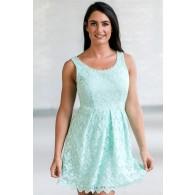 Cute Blue Mint Lace A-line Dress, Mint Lace Party Dress, Mint Lace Bridesmaid Dress