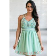 Cute Mint Dress, Mint Summer Dress, Online Boutique Dress, Embroidered Mint Dress