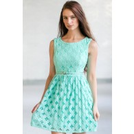 Aqua Mint Lace A-Line Dress, Belted Mint Lace Dress, Cute Summer Dress, Mint Sundress, Boutique Dress