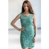 Aqua Lace Sheath Dress Teal Bridesmaid Dress Cute Lace