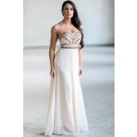 Cream Beaded Maxi Dress, Cute Summer Maxi Dress, Online Boutique Dress