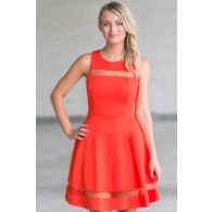 Sweet Orange Mesh Detail Fit and Flare Dress