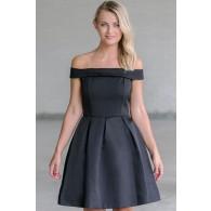 Vintage Elegance Off-Shoulder Dress in Black