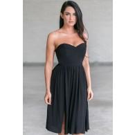 Rosalee Strapless Midi Dress in Black