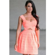 Banded Together Cutout A-Line Dress in Neon Coral
