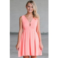 Ashton A-Line Dress in Coral